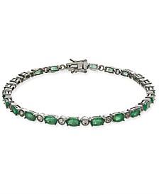 Emerald (5-3/4 ct. t.w.) & White Sapphire (1-1/10 ct. t.w.) Tennis Bracelet in Sterling Silver