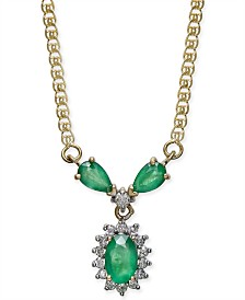 "Emerald (7/8 ct. t.w.) & Diamond (1/6 ct. t.w.) 16"" Collar Necklace in 14k Gold"