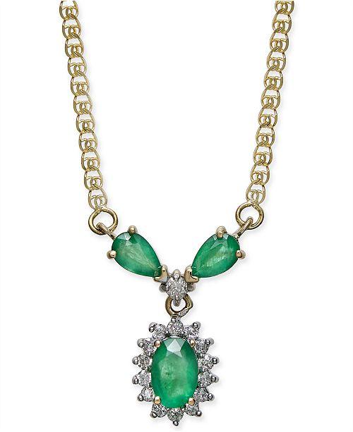 "Macy's Emerald (7/8 ct. t.w.) & Diamond (1/6 ct. t.w.) 16"" Collar Necklace in 14k Gold"