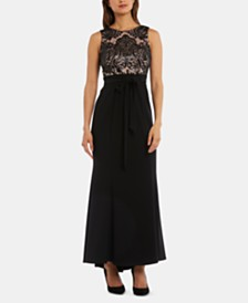 R & M Richards Embellished-Lace Gown