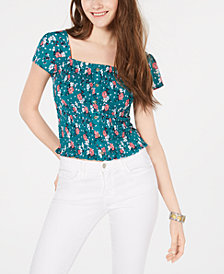 Crave Fame Juniors' Printed Smocked Cap-Sleeve Top