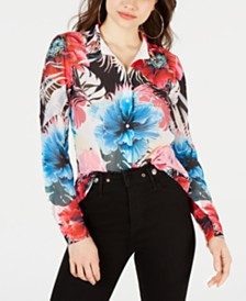 GUESS Printed Lace-Trim Button-Front Top