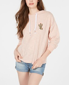 Pretty Rebellious Juniors' Embroidered Cactus Hoodie