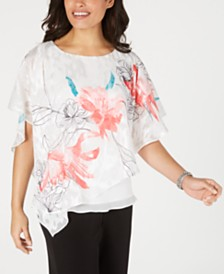 Alex Evenings Asymmetrical Overlay Top