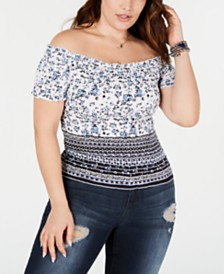 Planet Gold Trendy Plus Size Smocked Off-The-Shoulder Top