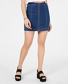 Juniors' Zip-Front Denim Mini Skirt