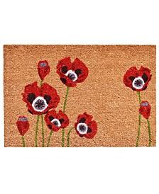 """Red Poppies 24"""" x 36"""" Coir/Vinyl Doormat"""