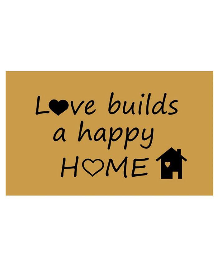 """Home & More - Happy Home 17"""" x 29"""" Coir/Vinyl Doormat"""
