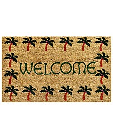 "Palm Tree Border Welcome 17"" x 29"" Coir/Vinyl Doormat"