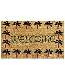 """Palm Tree Border Welcome 17"""" x 29"""" Coir/Vinyl Doormat"""