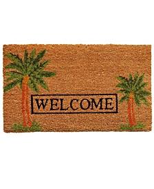 """Palm Welcome 17"""" x 29"""" Coir/Vinyl Doormat"""