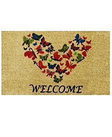 """Butterfly Welcome 17"""" x 29"""" Coir/Vinyl Doormat"""