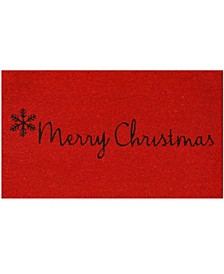 "Red Merry Christmas 17"" x 29"" Coir/Vinyl Doormat"