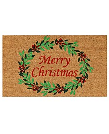 "Christmas Wreath 17"" x 29"" Coir/Vinyl Doormat"
