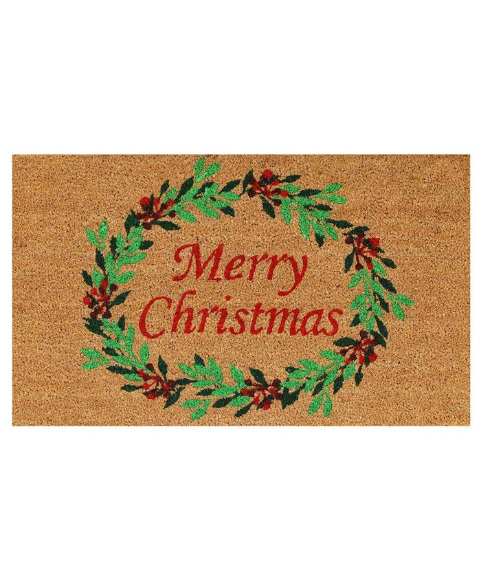 """Home & More - Christmas Wreath 17"""" x 29"""" Coir/Vinyl Doormat"""