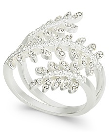 Charter Club Silver-Tone Crystal Leaf Wrap Ring, Created for Macy's