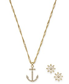 "Charter Club Gold-Tone Crystal Anchor Pendant Necklace & Ship Wheel Stud Earrings Set, 17"" + 2"" extender, Created for Macy's"