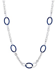 """GUESS Silver-Tone & Tortoise-Look Interlocking Link Strand Necklace, 36"""" + 2"""" extender"""