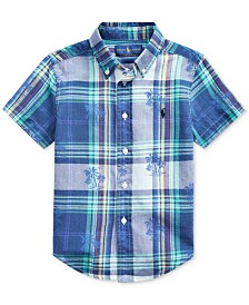 Polo Ralph Lauren Toddler Boys Palm Tree Cotton Madras Shirt