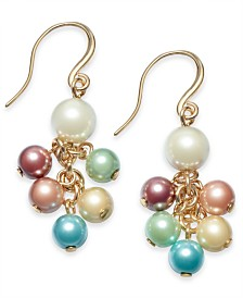 Charter Club Gold-Tone & Imitation Pearl Shaky Drop Earrings, Created for Macy's