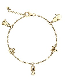 Beatrix Potter Gold Plated Sterling Silver Peter Rabbit Charm Bracelet