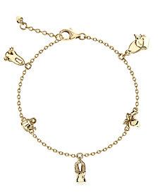 Beatrix Potter Gold Plated Sterling Silver Peter Rabbit Charm Bracelet