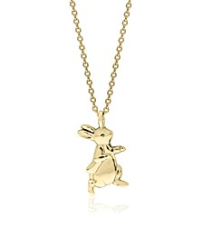 Beatrix Potter Gold Plated Sterling Silver Peter Rabbit Pendant Necklace