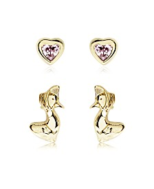 Beatrix Potter Gold Plated Silver Jemima Puddle Duck Set of 2 Stud Earrings