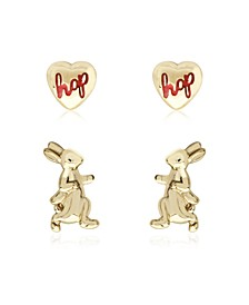 Beatrix Potter Gold Plated Silver Walking Peter Set of 2 Stud Earrings