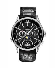 Roamer Men's 3 Hands Moonphase 43 mm Dress Watch in Stainless Steel Case