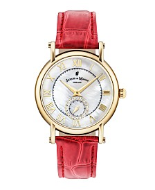 Jacques Du Manoir Ladies' Red Genuine Leather Strap with Goldtone Case with Mother of Pearl Dial and Diamond Sub Dial, 36mm