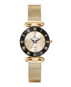 Jacques Du Manoir Ladies' Rose Gold Stainless Steel Mesh with Goldtone Case Black Bezel and Goldtone Dial