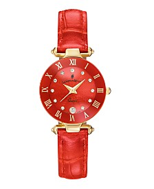 Jacques Du Manoir Ladies' Red Genuine Leather Strap with Rose Goldtone Case and Red Dial with Diamond Markers, 26mm