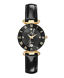 Jacques Du Manoir Ladies' Black Genuine Leather Strap with Goldtone Case and Black Dial, 26mm