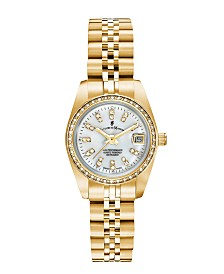 Jacques Du Manoir Ladies' Goldtone Stainless Steel Bracelet with Goldtone Case and Mother of Pearl Dial and Diamond Markers and Bezel, 26mm