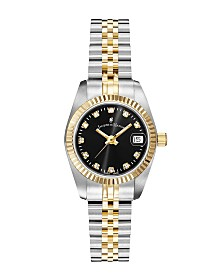 Jacques Du Manoir Ladies' Two Tone Silver or Gold Yellow Stainless Steel Bracelet with Twotone Case and Black Sunray Dial and Diamond Markers, 26mm