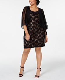 Plus Size Chiffon Jacket & Lace Sheath Dress
