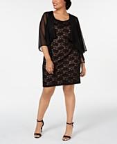 2666e9f843 Connected Plus Size Chiffon Jacket   Lace Sheath Dress