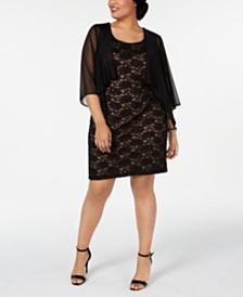 Connected Plus Size Chiffon Jacket & Lace Sheath Dress
