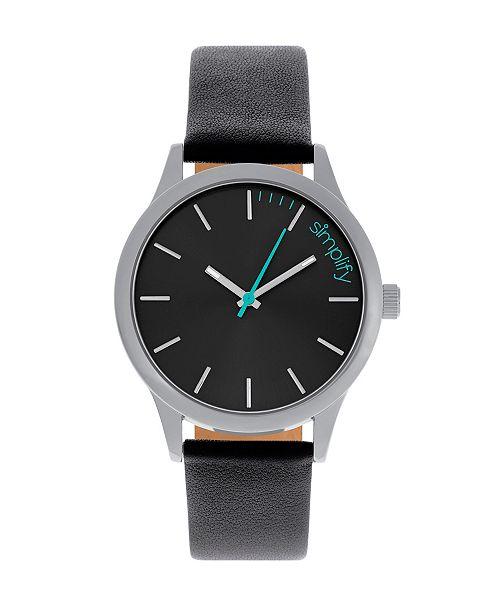 Simplify Quartz The 2400 Black Dial, Genuine Black Leather Watch 42mm