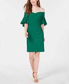 Off-The-Shoulder Ruched Sheath Dress