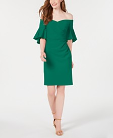 Calvin Klein Off-The-Shoulder Ruched Sheath Dress