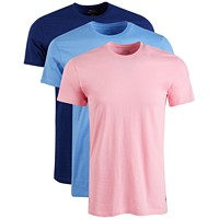 3-Pack Ralph Lauren Men's Classic Crew-Neck Cotton T-Shirt (Blue/Pink/Royal)