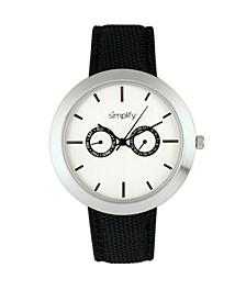 Quartz The 6100 White Dial, Canvas-Overlaid Black Polyurethane Strap Watch 43mm