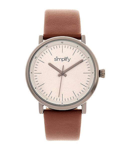 Simplify Quartz The 6200 Grey Case, Genuine Brown Leather Watch 39mm