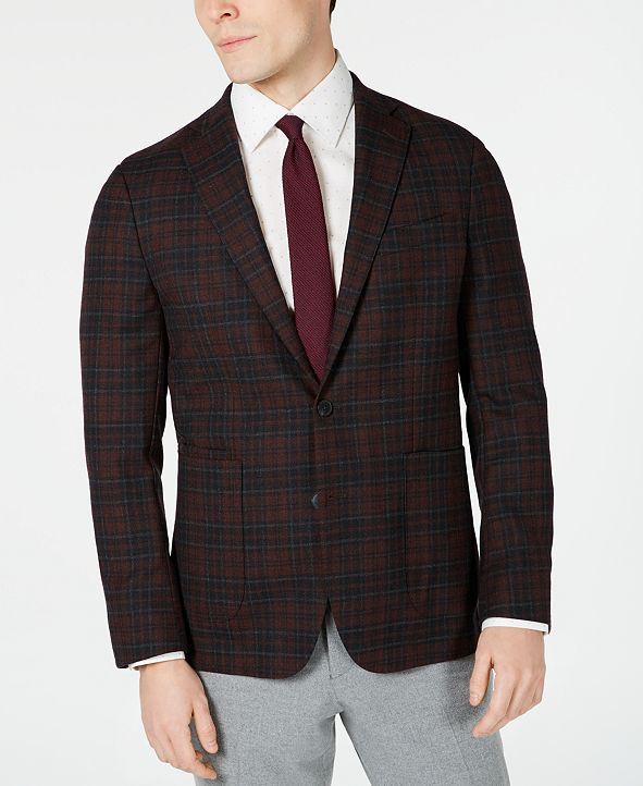 Cole Haan Men's Grand .OS Wearable Technology Slim-Fit Stretch Plaid Sport Coat