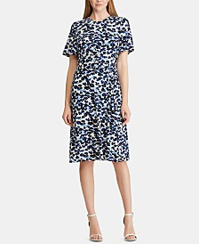 Lauren Ralph Lauren Petite Floral-Print Knot Jersey Dress