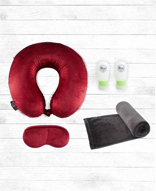 Bon Voyage 5-PC Memory Foam Travel Neck Pillow, Blanket and Bottles Set