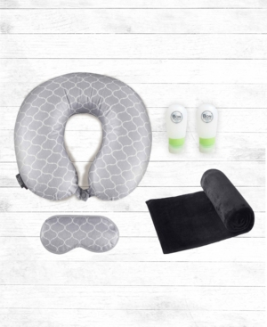 Bon Voyage 5-pc Memory Foam Travel Neck Pillow, Blanket and Bottles Set