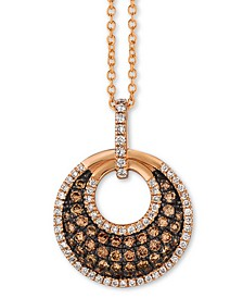 "Chocolatier® Diamond Circle Cluster 18"" Pendant Necklace (5/8 ct. t.w.) in 14k Rose Gold"